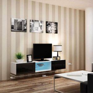 VIGO II Zwevend TV Meubel inclusief LED - TV Meubel Hoogglans Wit / Zwart - TV Kast Meubel - Modern Design - 30x180x40 cm