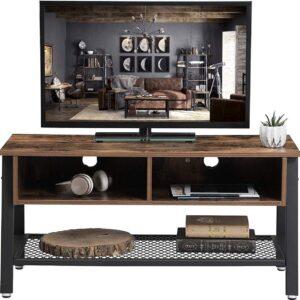 Vintage Tv-meubel met Handige Opberglade - Kabeldoorgangen aan de Achterzijde - 100 cm - Zwart/Bruin