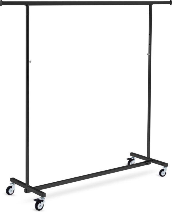 Zwart inklapbaar kledingrek met wielen - verstelbare hoogte max. 200 cm - 140 cm lang
