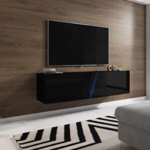 Zwevend Tv Meubel Hooglans Zwart - Led verlichting - Clean Design