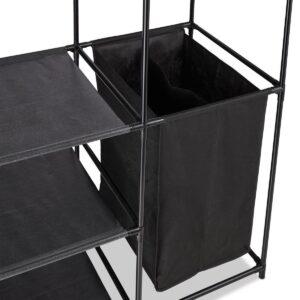 relaxdays kledingrek met wasmand - open kledingkast - kledingroede - garderoberek zwart