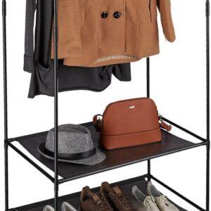relaxdays kledingrek metaal - garderoberek DIY - schoenenrek - stof - open kledingkast zwart