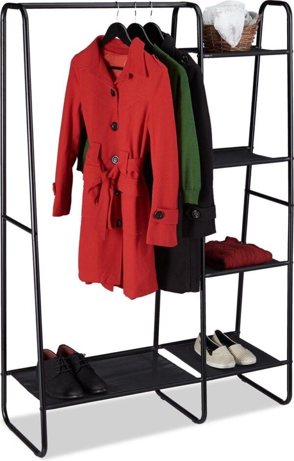relaxdays kledingrek metaal - garderoberek - kledingstandaard zwart - kapstok vrijstaand