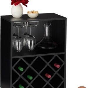 relaxdays wijnrek - flessenrek - voor 8 flessen - wijnkast - wijnstandaard - glazenhouder zwart