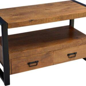 tv meubel mangohout / zwart staal 120 cm