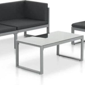 vidaXL 3-delige Loungeset met kussens aluminium zwart