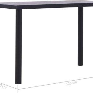 vidaXL Eettafel 120x60x75 cm MDF zwart en betongrijs VDXL_281857
