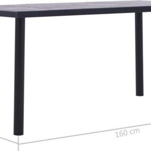 vidaXL Eettafel 160x80x75 cm MDF zwart en betongrijs VDXL_281859