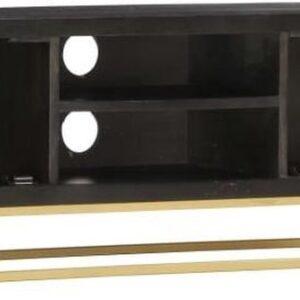 vidaXL Tv-meubel 120x30x40 cm massief mangohout zwart en goudkleurig VDXL_286514