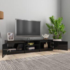 vidaXL Tv-meubel 140x40x35,5 cm spaanplaat hoogglans zwart VDXL_800655