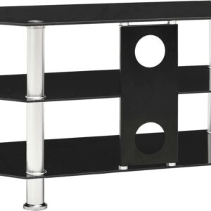 vidaXL Tv-meubel 75x40x40 cm gehard glas zwart VDXL_249539