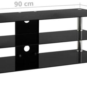 vidaXL Tv-meubel 90x40x40 cm gehard glas zwart VDXL_280092