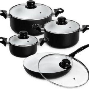8delige keramische pannenset glasdeksel kookpot zwart 401196