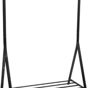 Kledingrek - Garderoberek - Met Hangstang en Plank - Zwart - Metaal - Strak Design - Industriele Look - 16,3x57x165cm