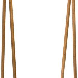 Kledingrek - Garderoberek - Met Hangstang en Plank - Zwart - Naturel - Metaal - Bamboe - Strak Design - 71x33,5x161cm