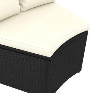 vidaXL 2-delige Loungeset met kussens poly rattan zwart VDXL_310464
