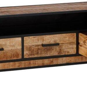 24Designs Tropical TV-meubel - B150 X D42 X H55 Cm - Mangohout - Zwart Metaal