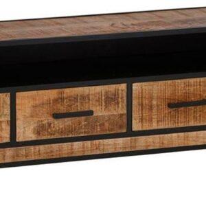 24Designs Tropical TV-meubel - B180 X D42 X H55 Cm - Mangohout - Zwart Metaal