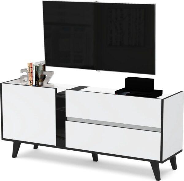 AZ-Home - Tv meubel Flix - Tv Kast - Wit/Zwart - 150 cm