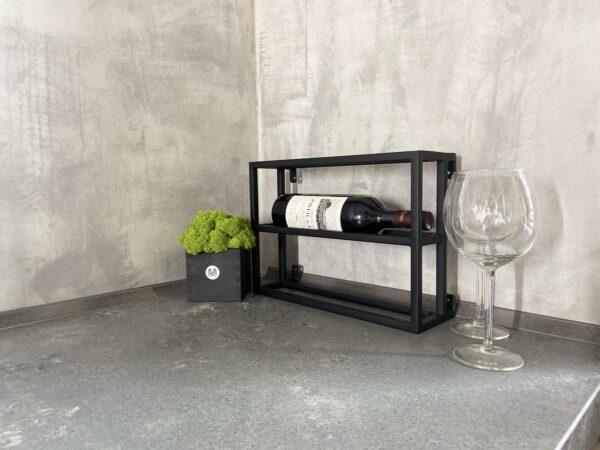 By Moos - wijnrek -2 flessen - industrieel - zwart - hangend