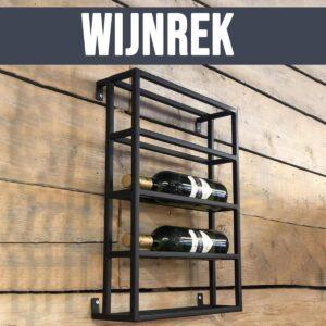 Bymooss Wijnrek - Wijnrek Metaal - Wijnrek hangend - Wijnrekken - 4 flessen - Zwart