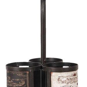 Clayre & Eef Wijnrek 5Y0699 Ø 21*55 cm - Zwart Metaal FlessenrekFlessenhouder