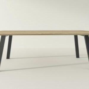 Concept Schuin - Eettafel - 220 x 100 cm - Matte lak - Zwarte poedercoating