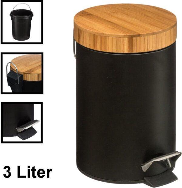 Decopatent® Pedaalemmer 3 liter - Met Bamboe Houten Deksel - Pedaalemmer 3L - Prullenbak - Keuken toilet - 17Øx25.5 Cm - Mat Zwart