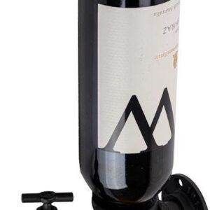 Decopatent® Wand Wijnrek - Metaal - Voor 1 Wijnfles en Fictieve Tap Kraan - Flessenrek - Muur Wijnflesrek - Wijnrekje - Zwart