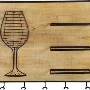 Decostar Wijnrek Monvalle 52,5 Cm Staal/hout Zwart