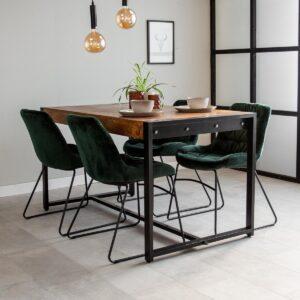 Dimehouse Vegas Eettafel - 160 x 90 cm - Industrieel - Hout - Zwart Metaal