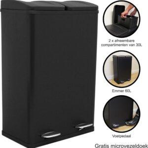 Dubbele Pedaalemmer - Zwart - Twee compartimenten - 60 liter algehele capaciteit - Recycling Prullenbak