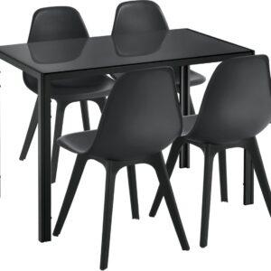 Eethoek Delft glazen eettafel met 4 stoelen zwart