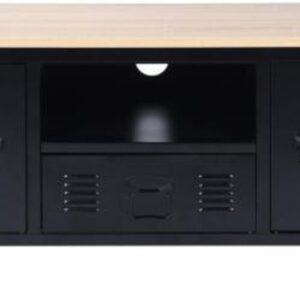 Evella Living - Tv kast meubel - Kast met deuren - Zwart - Industrieel - Metaal - 120x40x48