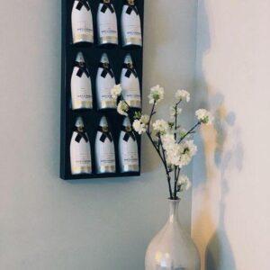 Ferro Duro - Wijnrek voor aan de muur - 9 flessen - zwart