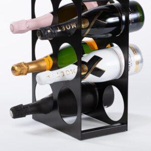 Ferro Duro - vierkant staand wijnrek - flessenhouder - 6 flessen - zwart