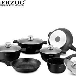 HERZOG - Professionele 16 Delige Gegoten Pannenset - Complete Set - 6 Pannen - Zwart - Afneembare Soft Touch-Handgreep - PFOA / LOOD-vrij