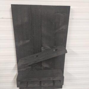 Hangend wijnrek 'Mini' van hout voor aan de muur - Zwart, Black wash steigerhout