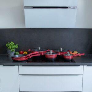 Herenthal - Complete 10-delige Pannenset in Rood/Zwart