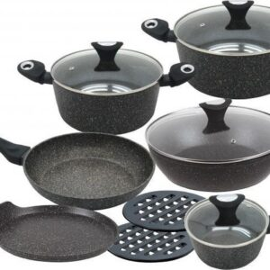 Klausberg 7201 pannenset - 12 delig - keramische/marmer coating - gesmeed aluminium - alle warmtebronnen - non stick - inductie - zwart