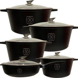 Kookkunst Holland pannenset inductie met glazen deksels - 10 delig - zwart Ø 21, 25, 28, 28 & 32 cm