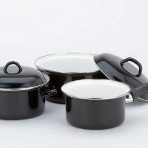 Lite-Body Pannenset - 3-delig - Kookpan 18cm & 20cm + steelpan 16cm - Emaille - Zwart