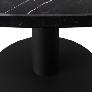 Marmeren Eettafel Rond - Nero Marquina Zwart (Middenpoot / Bistrotafel) - 120 cm