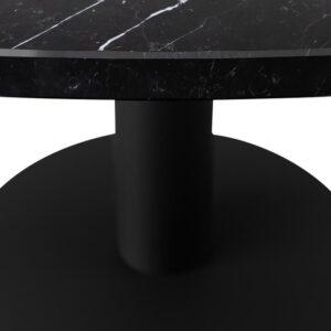 Marmeren Eettafel Rond - Nero Marquina Zwart (Middenpoot / Bistrotafel) - 130 cm