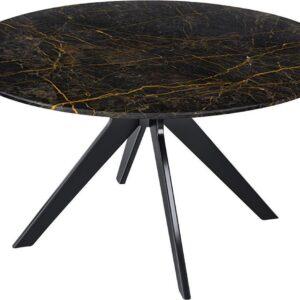 Marmeren Eettafel Rond - Port Laurent Zwart Goud (Middenpoot) - 130 cm