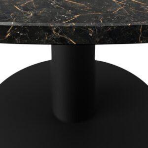 Marmeren Eettafel Rond - Port Laurent Zwart Goud (Middenpoot) - 160 cm