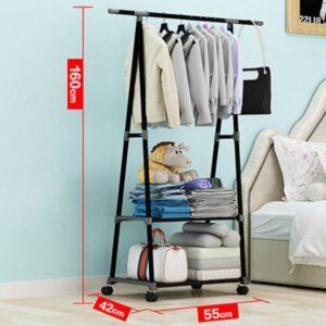 Mobiele Kledingrek - Kledingrek met Wieltjes - Kleding Hang en Legkast - Kleren Hangen - Compacte Garderobe - Zwart