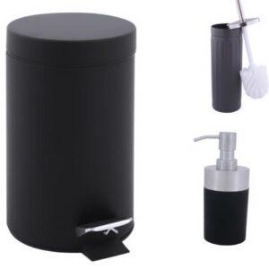 Pedaalemmer set / incl wc borstel en zeepdispenser / mat zwart / metaal / prullenbak / 3 L / 3 liter / 19 x 16 x 24,5 cm / badkamer / toilet / kantoor / slaapkamer / keuken
