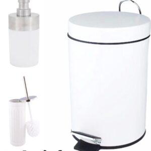 Pedaalemmer set / incl wc borstel en zeepdispenser / mat zwart / metaal / prullenbak / 3 L / 3 liter / 19 x 16 x 24,5 cm / badkamer / toilet / kantoor / slaapkamer / keuken / wit