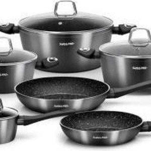 S & P  10 delige pannenset - Black Edition - Nieuw Model 2021 Geschikt voor Alle Warmtebronnen! zwart